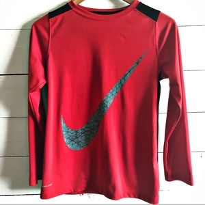 Nike Dri Fit Long Sleeve Swoosh T-shirt Boys Sz L